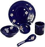 Ciotola per Mangiare Stile Giapponese Cerami Giapponese Stile Giapponese Blossom Posate Set Set Set di Posate per Uso Domestico Cucchiaio in Ceramica Occidentale Spuntino Dip Bowl Insalata Piatto Blu