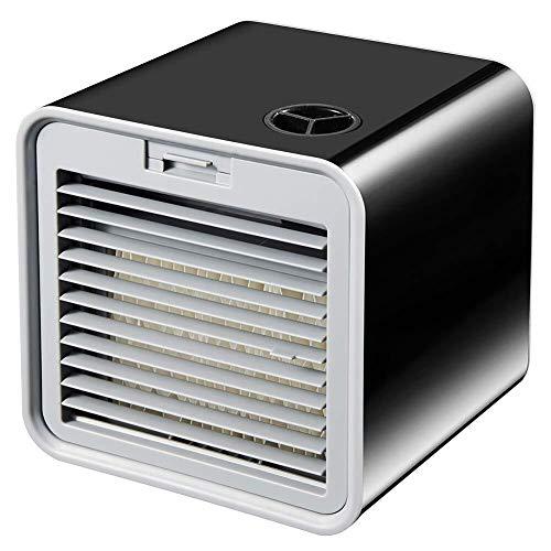 Aire Acondicionado Portátil Enfriador Mini 3 en 1 Espacio Personal Enfriador de Aire Humidificador Purificador Ventilador Escritorio con USB 3 Velocidades para Casa/Oficina/Camper ( Color : Black )
