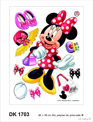 Disney Minnie Shopping Addicted Décoration Sticker Adhesif Mural Géant Répositionnable