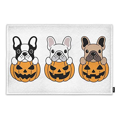 Moslion Door Mat French Bulldog Pumpkin Halloween Design Cute Cartoon Animal Puppy Pug Doddle Non Slip Funny Doormat for Outdoor Indoor Decor Entry Rug Kitchen Bedroom Mat 18 x 30 Inch