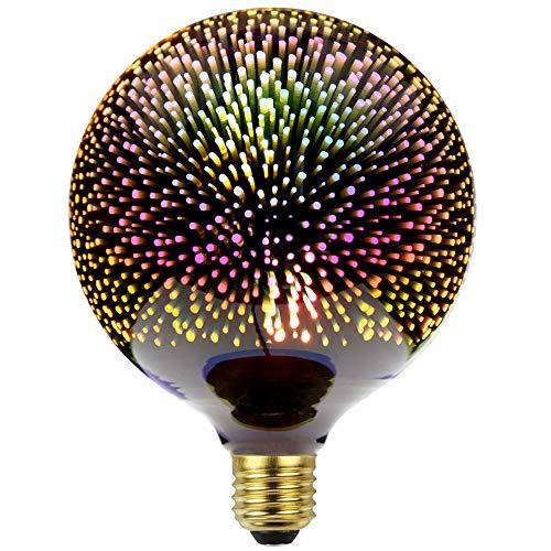 Maiso Lighting エジソン電球花火3D LED電球AC85-265V装飾電球G125テーブルランプ電球シーリングライト電球ナイト電球 银