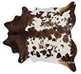 eCowhides Tricolor Brazilian Cowhide Area Rug, Cowskin Leather Hide for Home Living Room (XL) 7 x 6 ft