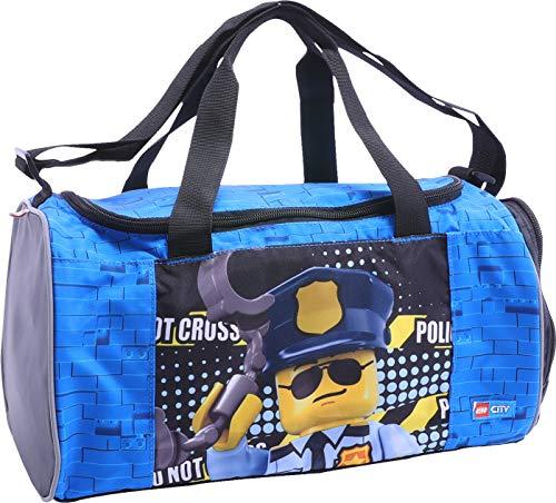 Lego Bags Sporttasche City mit Schuhfach und Nassfach, Reisetasche für Kinder, Schulsporttasche mit Lego Motiv, Gym Tasche aus Polyester, Weekender für Schüler, Umhängetasche in blau