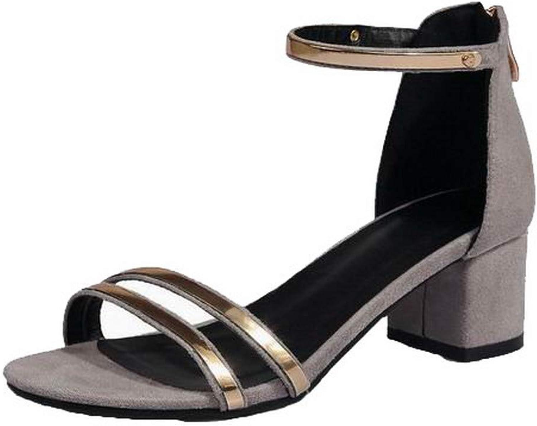WeenFashion Women's Zipper Kitten-Heels Frosted Open-Toe Sandals,AMGLX010596