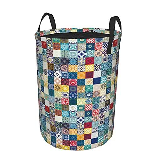 Cesto de lavandería redondo,mega magnífico mosaico colorido fondo de adornos de azulejos marroquíes,cesto de lavandería plegable impermeable con cordón de19'X14'