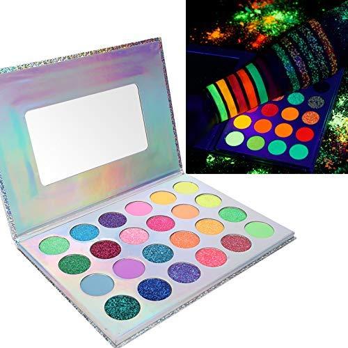 ZJchao Hochpigmentierter Lidschatten für Halloween, Lidschatten-Paletten-Make-up, hochpigmentierte, Fluoreszierende Neon-Lidschatten-Plattenkosmetik, 24 hochpigmentierte Lidschatten-Make-up-Farben