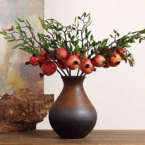 Rama artificial de Granada PES fruta Artificial verde planta flores para boda casa jardín decoración 1pcs