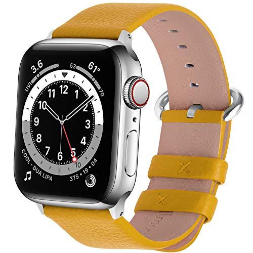 Fullmosa kompatibel mit Apple Watch Armband 44mm 42mm 40mm 38mm Series SE/6/5/4/3/2/1, Leder Ersatzarmband für iwatch original Band,Gelb 38mm(Series 4 40mm)
