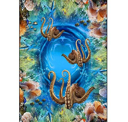 Makeyong Moderne Benutzerdefinierte 3D Boden Wandbild 3D Unterwasser Riff Oktopus Malerei Hintergrund Selbstklebende Pvc-Tapete-450X300cm