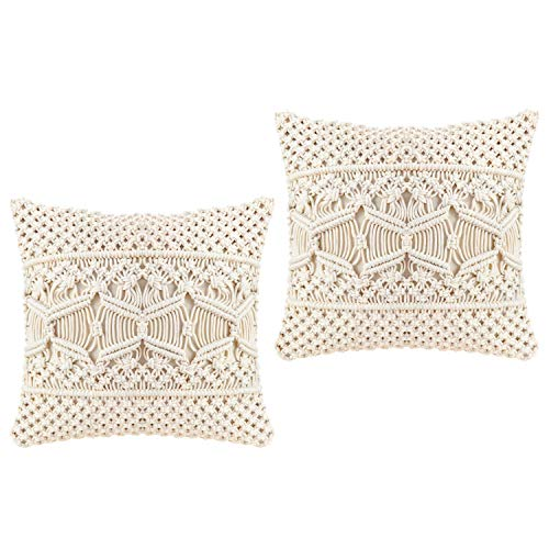 Mkouo Throw Pillow Cover Makramee Kissenbezug (Beinhaltet kein Kissen) Set of 2 Dekorativer Kissenbezug for Bed Sofa Couch Bench Car Boho Home Decor,43cm