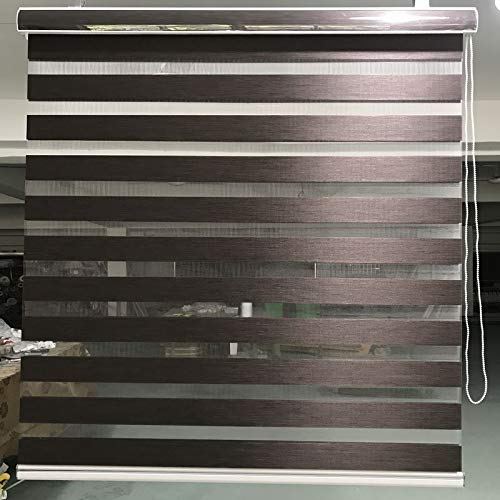 XiaoOu Blackout Blind,Horizontal Window Shade Blind Zebra Dual Roller Blinds Treatments Window Custom Cut to Size Dark Brown Curtains for Living Room,G03-002,Custom Made