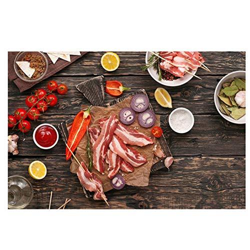 Lcgbw zaden voor specerijen, vlees, groenten, keuken, canvas, afbeelding, posters en drukken, wand, kunst, levensmiddelen, afbeelding, woonkamer 40x80cm Toile
