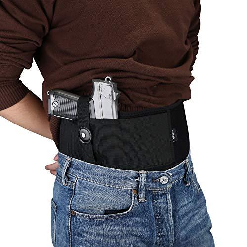 ProCase Cinturón Pistolera Oculta, Pretina Elástica Ajustable Neopreno para Arma de Fuego, Correa de Cintura de Pistolete para Hombres y Mujers -Negro