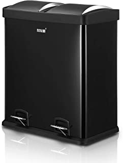 60L Dual Compartment Pedal Bin Kitchen Recycling Waste Bins Coated Steel Black