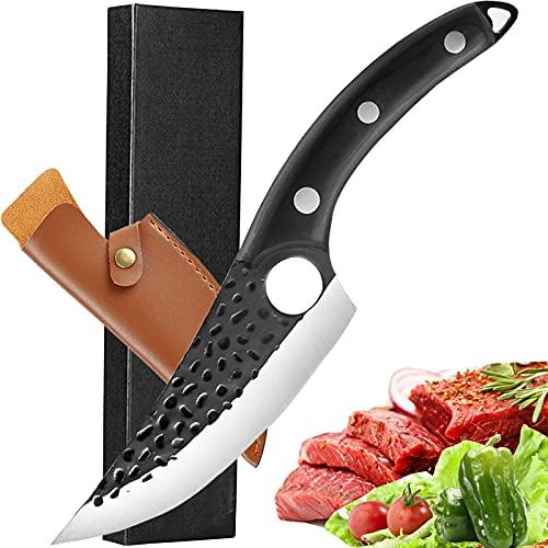 Akatomo cuchillo de chef forjado a mano cuchillo para cortar carne cuchillos de cocina con funda, cuchillo para deshuesar cuchillo para picar verduras cuchillo de carnicero con mango ergonómico