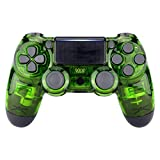 eXtremeRate Transparent Crystal Clear Green Front Housing Shell Faceplate Cover for PS4 Slim PS4 Pro Controller (CUH-ZCT2 JDM-040 JDM-050 JDM-055) - Controller NOT Included
