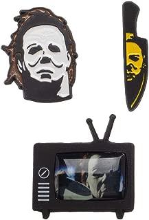 Halloween Michael Myers Set of 3 Metal Enamel Finish Pins