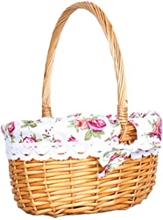 HOMELUNY Storage Boxes Organizer Wicker Basket Picnic Basket Oval Willow Woven Basket Easter Large Storage Wine Basket Red L Storage Bins Baskets for Home Office Nursery
