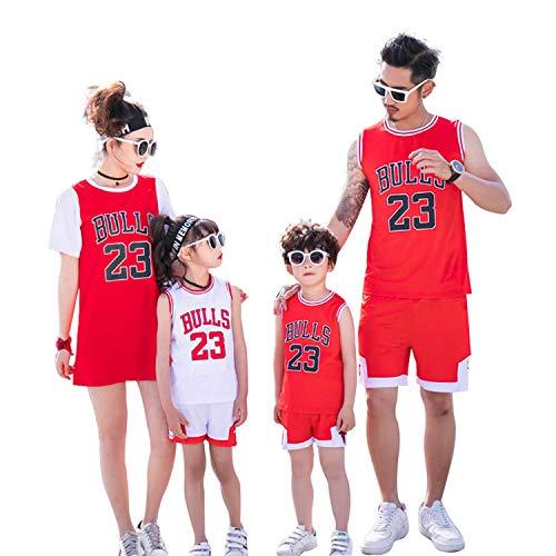 XCR Kinder Jungen Mädchen Herren Erwachsene NBA Michael Jordan # 23 Chicago Bulls Retro Basketball Trikots Uniform Sommeranzüge Jersey Kits Top + Short 1 Set (Weiß (White), L (Kids))