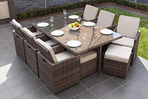 Direct Wicker 11 PCS Patio Furniture Dining set Garden Outdoor Patio Furniture Sets Rattan Outdoor Patio Cube Sets Mixed Brown Rattan & Cushions (11PC SETS)