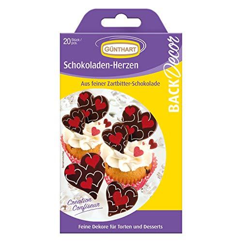 Günthart Backdecor 20 Schokoladen - Aufleger Herzchen | aus Zartbitter Schokolade | Tortendeko | Cupcakedeko