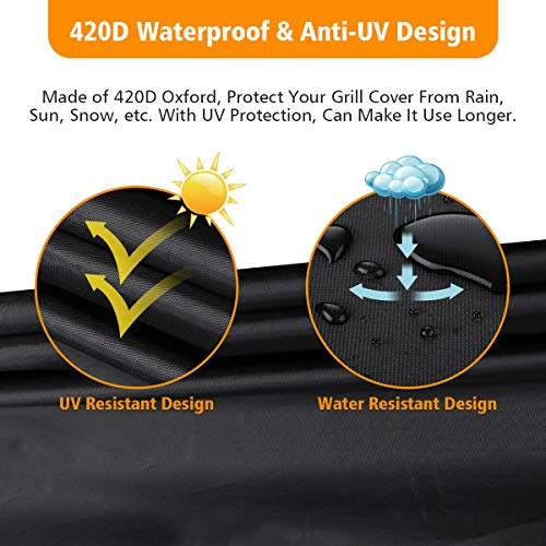 Tvird BBQ Cover, Barbecue Cover Waterproof Heavy Duty BBQ Grill Cover -Oxford Fabric Waterproof, Windproof, Rip-Proof& UV Resistant with Storage Bag for Weber, Brinkmann, Char Broil etc