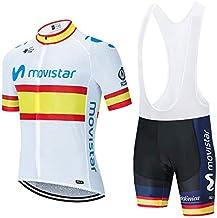Verano Conjunto Ciclismo, Traje Bicicleta Cortos para Hombre Maillot Ciclismo Mangas Cortas y Culotte Pantalones Cortos con 5D Gel
