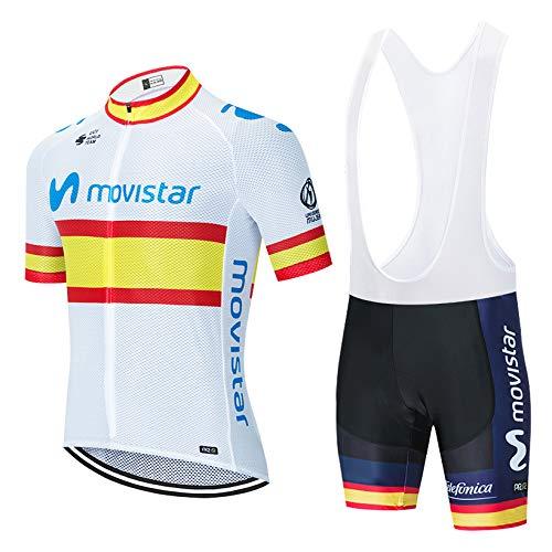 Verano Conjunto Ciclismo, Traje Bicicleta Cortos para Hombre Maillot Ciclismo Mangas Cortas y Culotte Pantalones Cortos con 5D Gel (L, H061-WT)