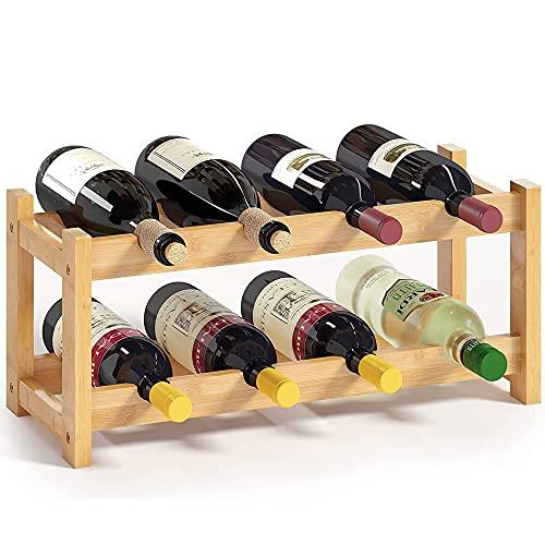 Botellero de Vino, Estante para Botellas de Vino,Soporte para Botellas, Botelleros de Madera para Vino u Otras Bebidas Estantería para Bebidas.Capacidad para 8 Botellas M+ / A