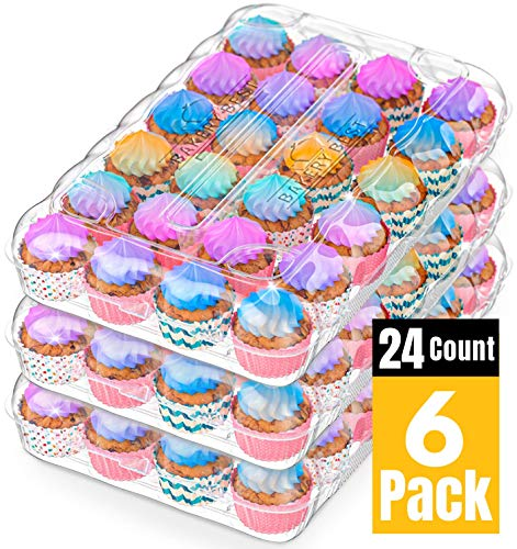 BAKERY BEST [12 Sets of 24 Counts] Cupcake Carrier, Plastic Container Holder for 24 Cupcakes -Cupcake Boxes, Clear Plastic Disposable Containers, Tall Dome Detachable Lid, Storage Tray, Muffin Holder