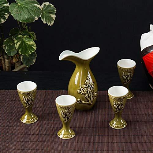 Juego de vino chino, juego de vino de cerámica, taza de sake, taza de cerámica, petaca, juego de vino doméstico, muchos estilos disponibles (color: amarillo)