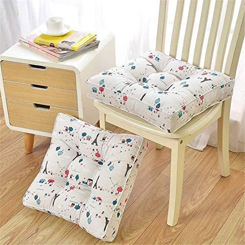 SJQ Paquete de 2 Cojines Ultra Gruesos para sillas de jardín y Patio, Almohadillas cuadradas para Asiento de Coche Grandes, Cojines para el Suelo para la Oficina, Comedor, sofá de jardín al Aire