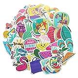 ZZHH 50 Hojas/Paquete de Helado de Verano árbol de Coco película tonta Dibujos Animados patrón de Graffiti Nota Equipaje Pegatinas para el Cuerpo del Coche