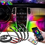 Nirider Interior Car Lights Car LED Strip Lights Car Inside Accessories with Remote and APP Control Waterproof Multicolor RGB Under Dash LED Lights for Car Truck SUV Off Road - 4 PCS DC 12V