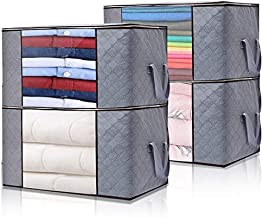 LOVEFISH Foldable Closet Organizer Clothing Storage Bags with Clear Window