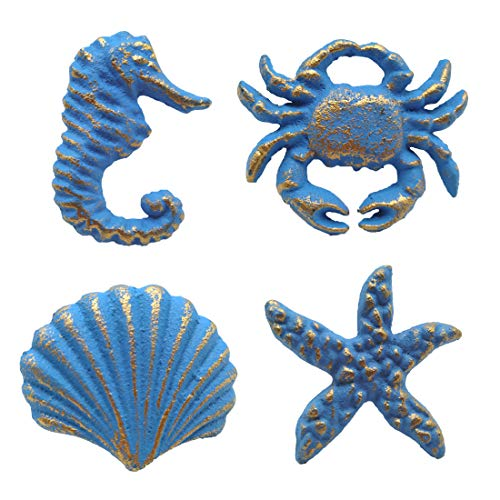 Joyindecor Ocean Cabinet Knobs for Dresser Cupboard Wardrobe Kitchen, Distressed Cast Iron Beach Theme Drawer Pulls Handles, Seahorse, Starfish, Seashell and Crab, Pack of 4 (Blue)