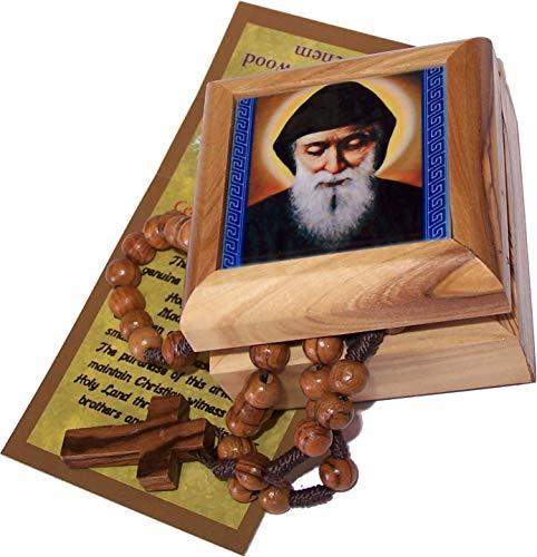 Holy Land Market Olive Wood Rosary and Box from Bethlehem (Mar Charbel - Lebanese Saint)