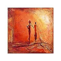 古代民族の女性の絵画レトロなスタイルの部族アフリカ系アメリカ人の女性壁アート絵画キャンバス画像黒人女性のテーマガールルームポスターアート絵画の装飾、フレームなし,Standing,50x50cm