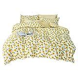 Treer Bettwäsche-Set Microfaser, Bedrucktes Weiche Atmungsaktive Bettbezug Kopfkissenbezug Bettbezug mit Reißverschluss Schließung (Gelbe Blumen,3pcs-220x240cm)