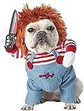 Costume de poupée de Nidaye pour chien effrayant Vêtements pour Halloween Cosplay Poupée Chucky Costume de chien Porter un chapeau Drôle de fête Vêtements de Noël (M)