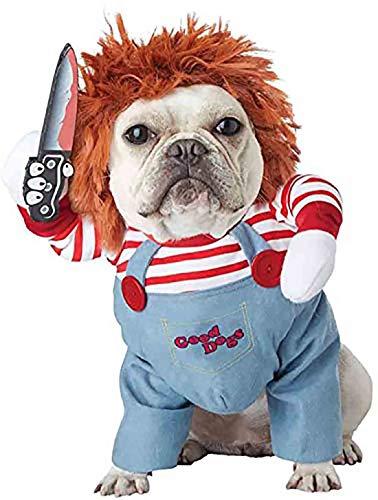 NIDAYE Hundekostüme mit tödlicher Puppe, gruselige Hundekleidung, Halloween, Cosplay, Chucky Puppe, Hundekostüm, trägt einen Hut, lustige Hunde-Party-Kleidung, Weihnachts-Kostüm, Größe M