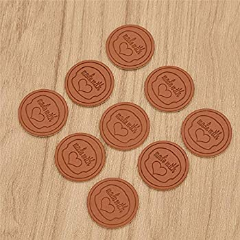 50pcs Handmade with Love Labels Tags Synthetic Leather Garment Sewing Crafts DIY
