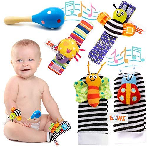 BOWZ Sonagli Neonato e Maracas - Giocattoli per Bambini in Cotone per la Prima Infanzia Utili Come Regalo - 5 Pezzi