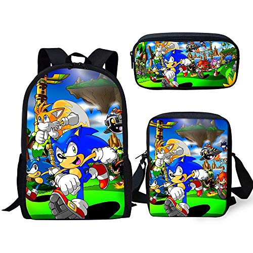 YUNDI Sonic Backpack Kids School Bags 3 Pcs/set Cartoon Sonic Buddy Printing Teenager School Backpack For Boys Girls Travel Satchel