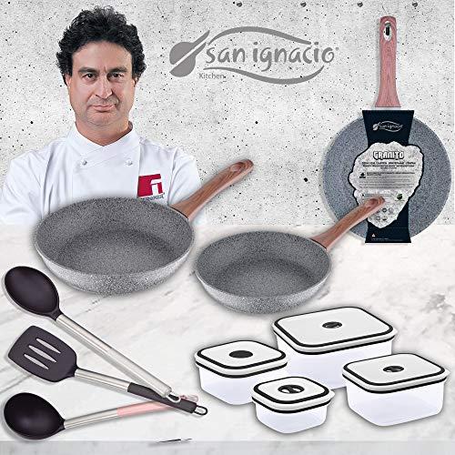 San Ignacio - Granito set 3 sartenes + 4 fiambreras + 3 utensilios