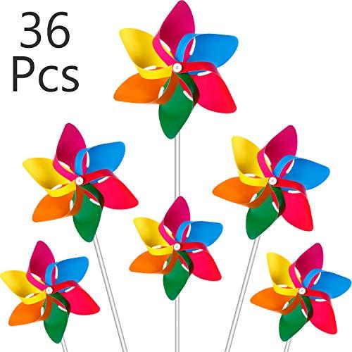 Hestya Molinillos de Arco Iris de Plástico, Molinillo de Fiesta Juego de Molinillos de Viento de Césped de DIY para Adolescentes Juguete Adornos de Jardín Fiesta Césped (36 Piezas, Multicolor B)