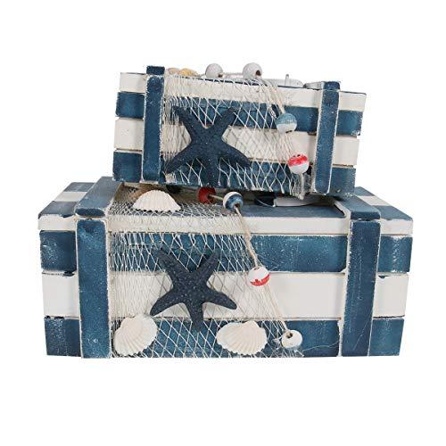 Cabilock Caja de Almacenamiento de cosméticos de Madera de 2 Piezas, contenedor de joyería de Escritorio, decoración para el hogar (Grande, pequeño)