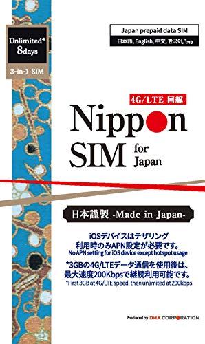 Nippon SIM for Japanプリペイドデータシム(標準版)高速3GB LTEデータを越えると無制限200kbps/ 8日間利...