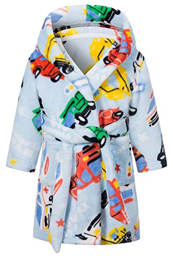 Boys Plush Soft Fleece Printed Hooded Bathrobes...