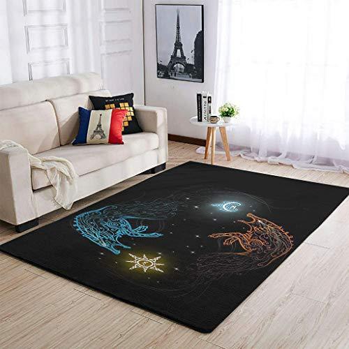 Knowikonwn Lujosas alfombras vikingas de mitología superlindas, cómodas, para sala de estar, para niñas y niños, color blanco, 122 x 183 cm